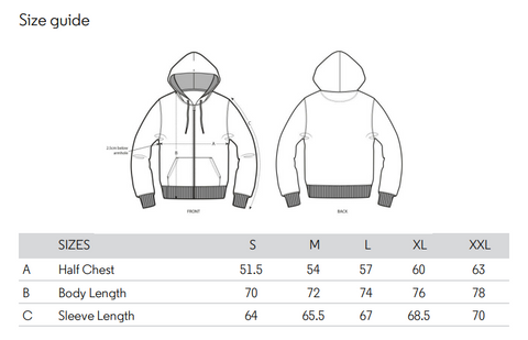 No Fixed Abode Luxury Streetwear Organic Vegan Mens Zip Hoodies Size Chart