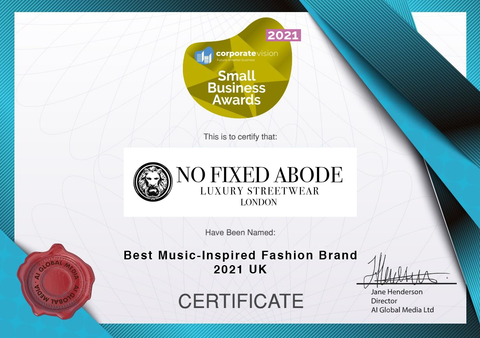 Small Business Awards 2021 No Fixed Abode of London Best Music-Inspired Fashion Brand 2021 - UK for Streetwear certificate