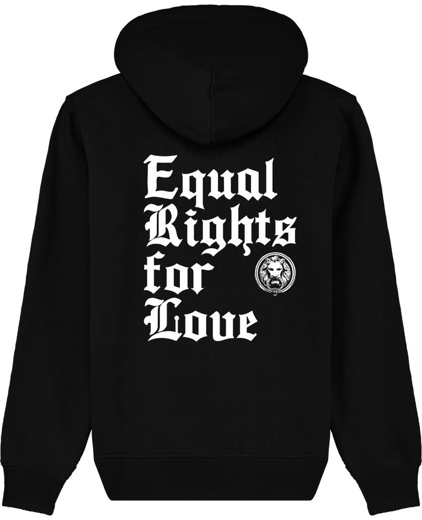 Equal Rights for Love Organic Hoodie Black Back Luxury Streetwear No Fixed Abode