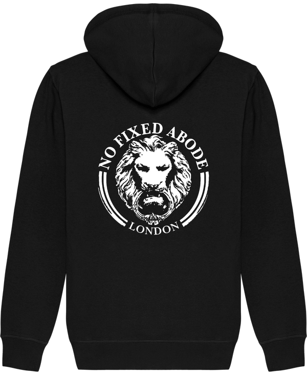 No Fixed Abode Luxury Streetwear LION BLACK BACK ORGANIC HOODIE SWEATSHIRT