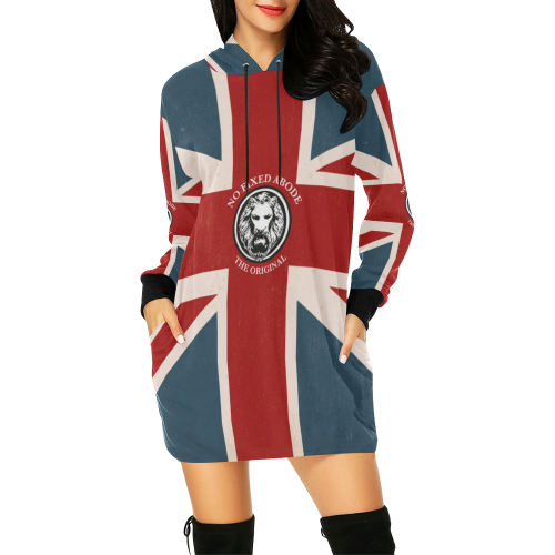 NFA Designer Women's Luxury Streetwear Union Jack Hoodie Dress front model