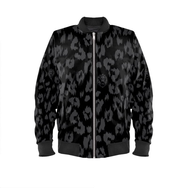 Black on Black Leopard Bomber Jacket