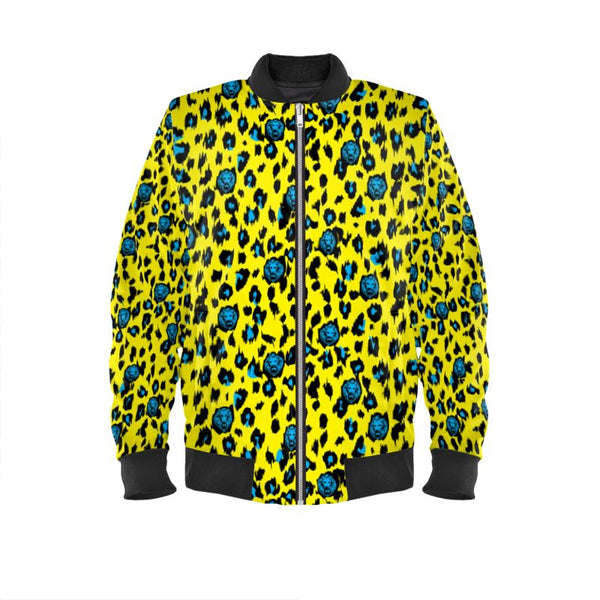 Front luxury streetwear yellow leopard print bomber jacket street style london