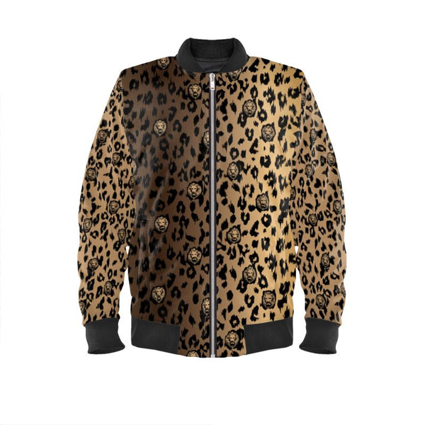 Front leopard print lion luxury streetwear bomber jacket london
