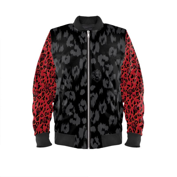 Front luxury streetwear black contrast red mens design bomber jacket