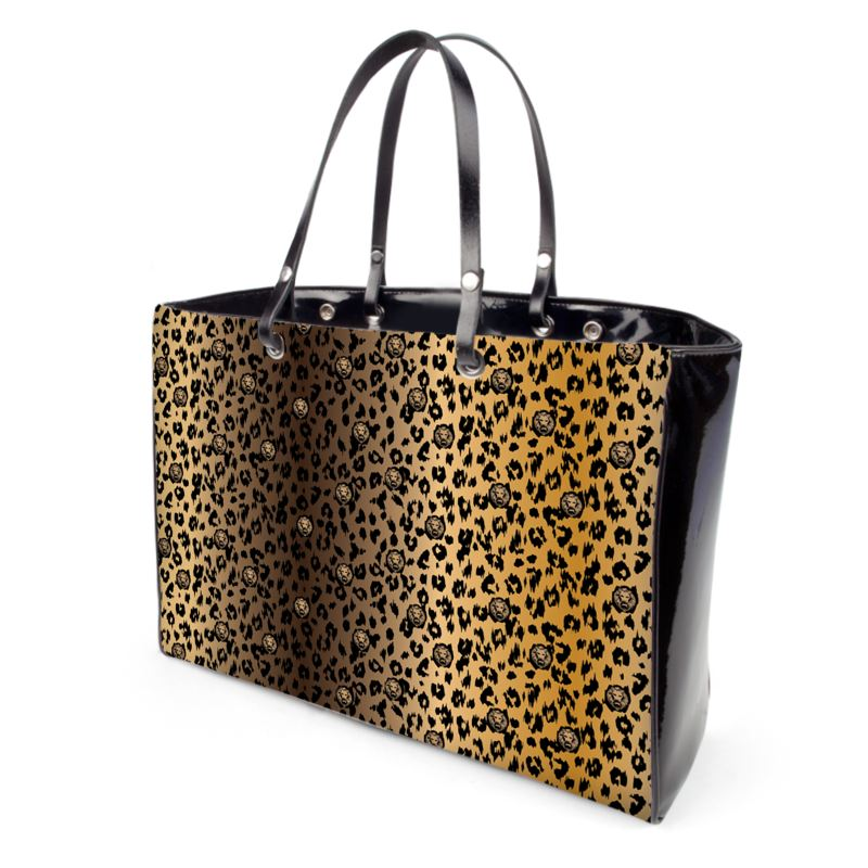 front leopard gradient brown nude black handbag lion design street style
