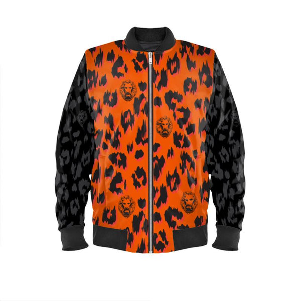 Orange & Black Sleeve Leopard Bomber Jacket