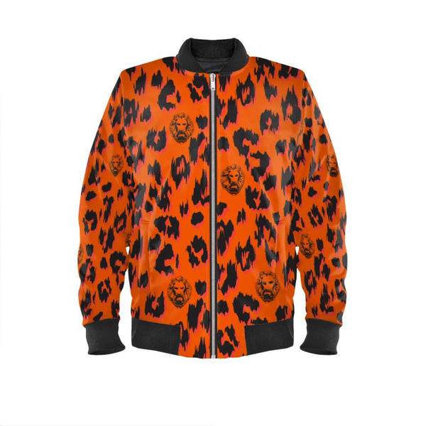 Front luxury orange streetwear bright bomber jacket designer urban wear
