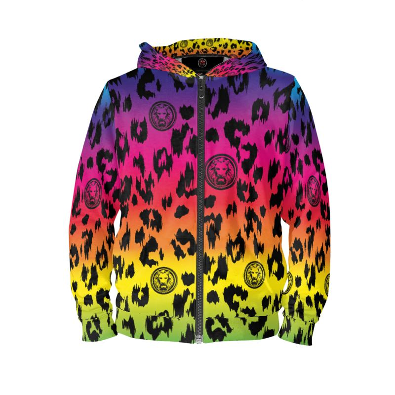 Front Luxury streetwear rainbow leopard hoodie for men and women urban wear