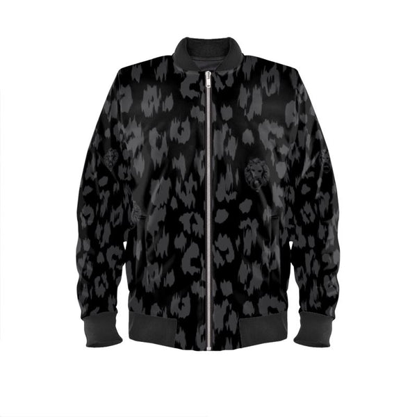 front luxury black grey leopard print design bomber jacket womens