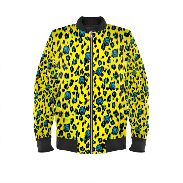 Women's Yellow Leopard Bomber Jacket