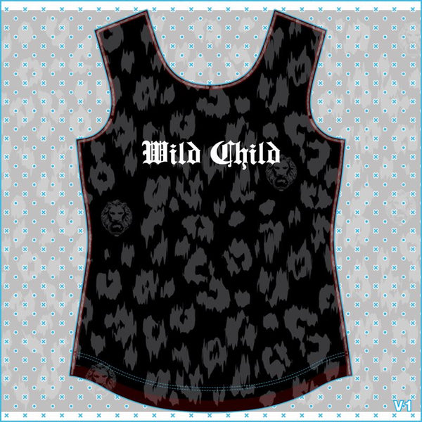 Womens Black Leopard Wild Child T-shirt