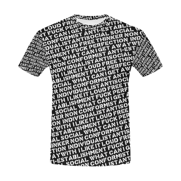 Mens Designer Streetwear Stencil Black All Over Print Luxury T-Shirt NFA Front