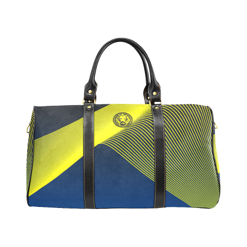 Luxury Streetwear Designer Blue and Yellow Travel Bag front No Fixed Abode