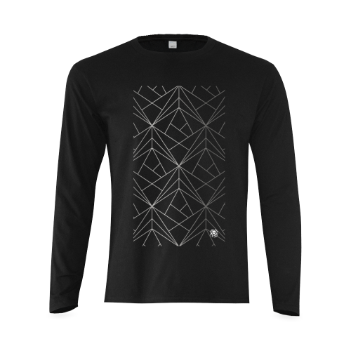 Mens Geometric Designer Long Sleeve Black Luxury Streetwear T-shirt Front