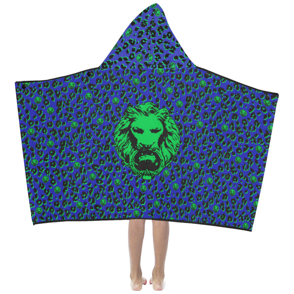 Blue Leopard Kids Hooded Towels