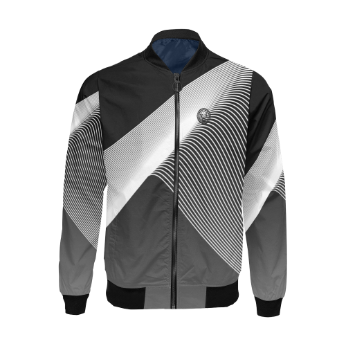 Luxury Streetwear Designer Black & White Mens Bomber Jacket, UK No Fixed Abode