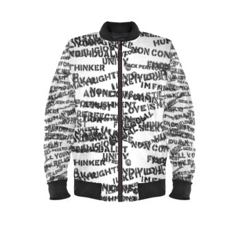Front stencil mens luxury streetwear black white bomber jacket no fixed abode