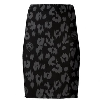 Black Leopard Pencil Skirt