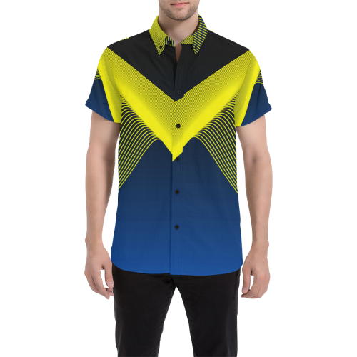 Blue Yellow Luxury Streetwear Mens Shirt From London, England, UK No Fixed Abode