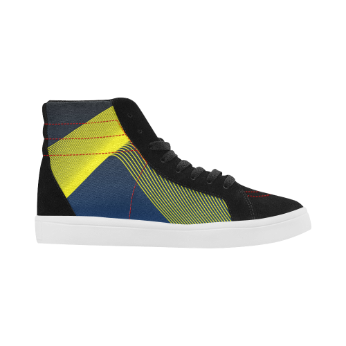Blue Yellow Line Luxury Streetwear Skate Shoes for Men London, UK Right