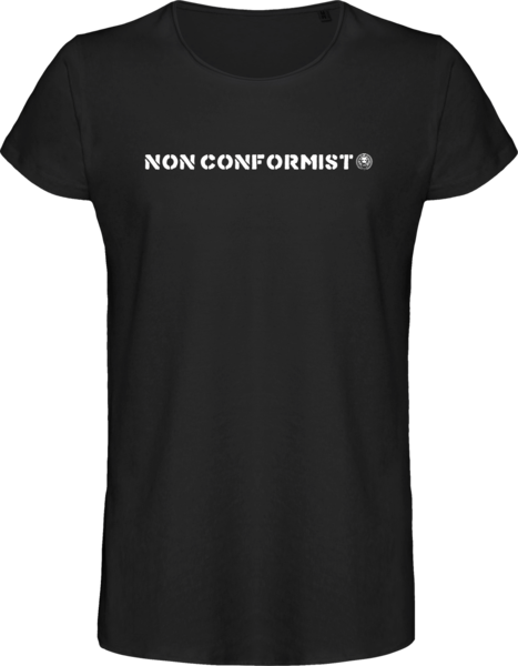 Non Conformist Organic Mens T-Shirt Black Front no fixed abode luxury streetwear