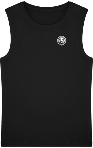 No Fixed Abode Luxury Streetwear Mens Sleeveless Black Organic TShirt Front