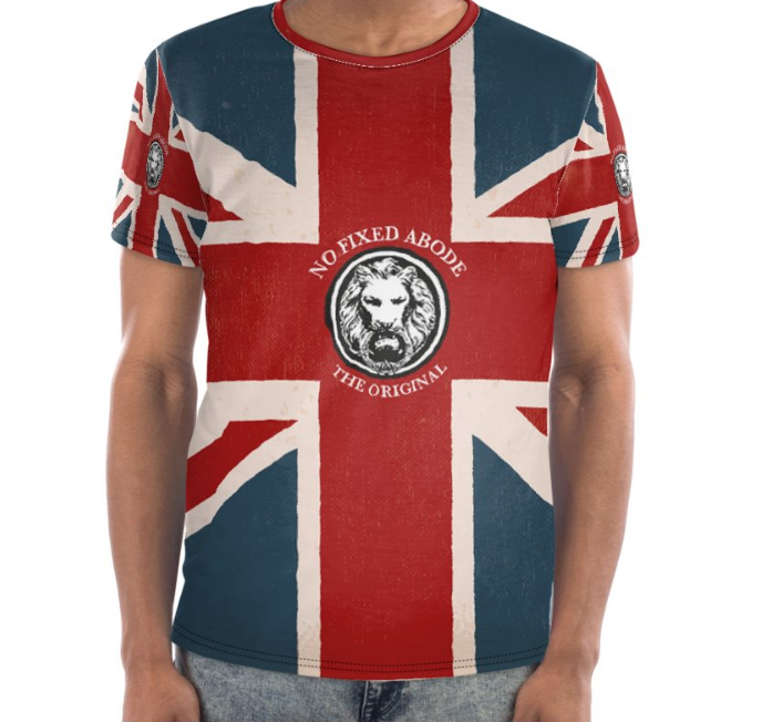 NO FIXED ABODE NFA Luxury Streetwear Union Jack Original Mens crewneck t-shirt London