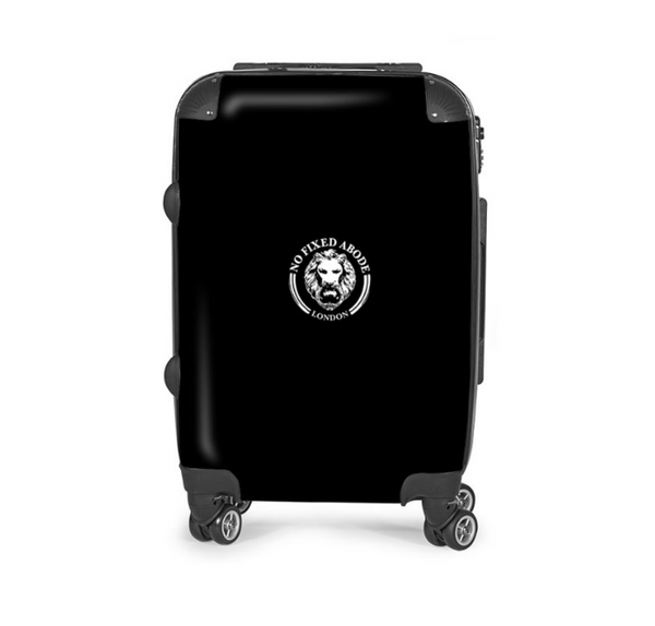 Black Carry on Suitcase NO FIXED ABODE London UK, luxury streetwear, free shipping