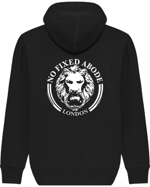 Mens Zip Hoodie Sweatshirt Black Large Lion Luxury Streetwear No Fixed Abode back