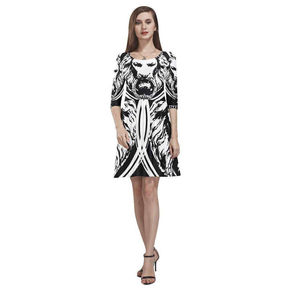 06d691ed97e0 NO FIXED ABODE Abstract Lion Womens Skater Dress London Free ...