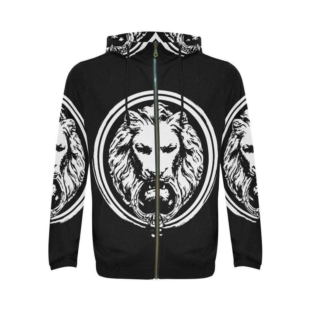 Black and White Lion All Over Mens Zip Hoodie-Jackets and Coats-S-NO FIXED ABODE Luxury Streetwear UK