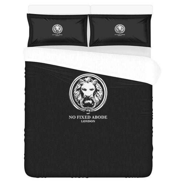 NO FIXED ABODE,Black Double Duvet set Lion 3 Piece Bedding Set,Bedding,One Size