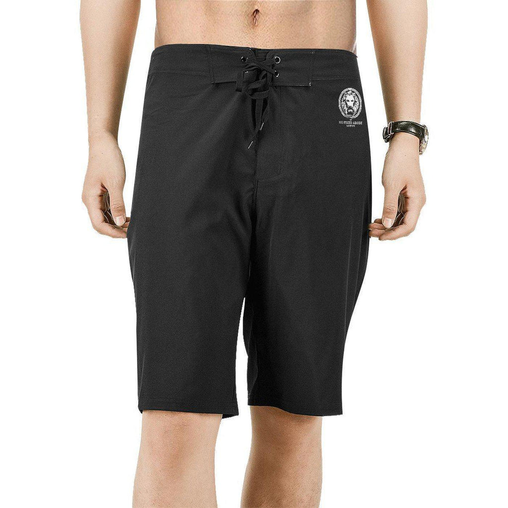 NO FIXED ABODE,Black Mens Board Shorts Small White Lion,Shorts,S