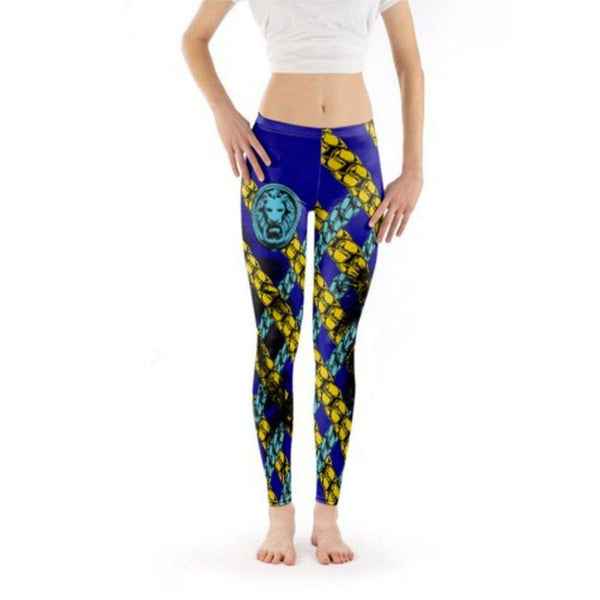 NO FIXED ABODE,Blue and yellow full length Chain leggings,Bottoms,XS / Multi / Soft Lycra Sheen