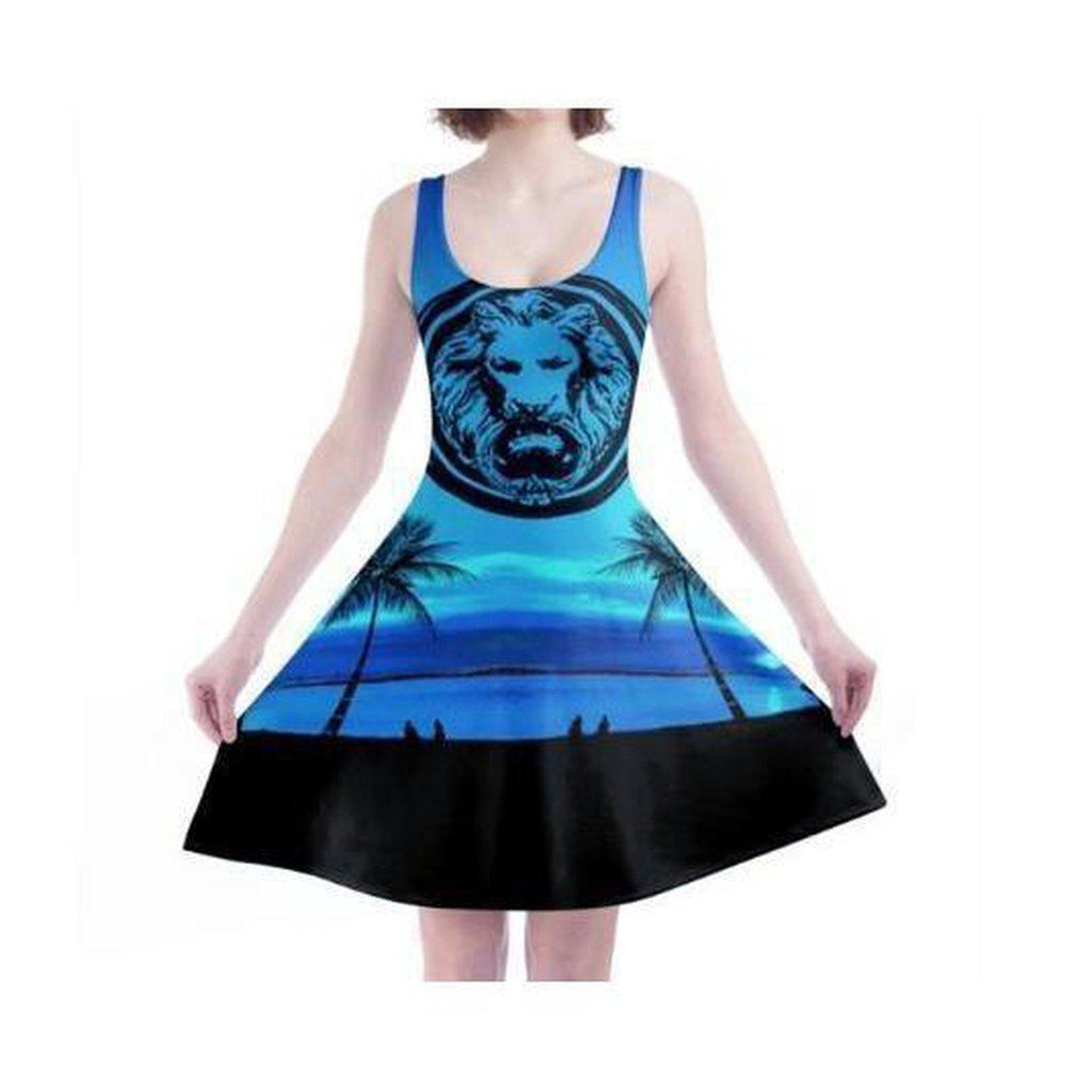 NO FIXED ABODE,Blue Lion Skater Dress,Dresses,XS