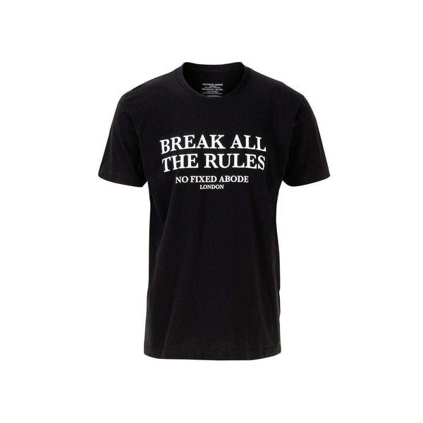 NO FIXED ABODE,BREAK ALL THE RULES T-SHIRT CREW NECK,T-Shirts,XS / Black / 100% Cotton