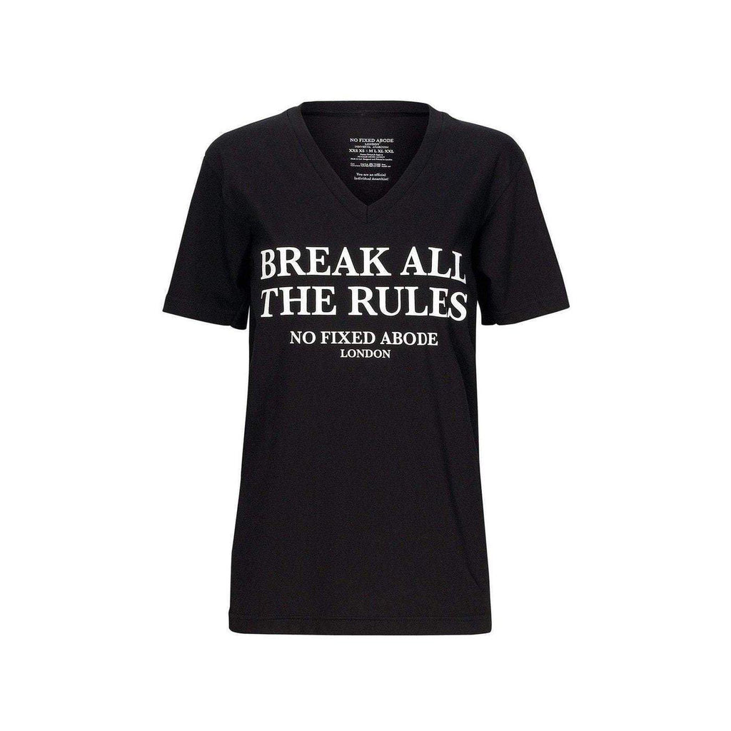 NO FIXED ABODE,Break All the Rules V Neck Unisex T-Shirt,T-Shirts,X Small / 100% COTTON / BLACK