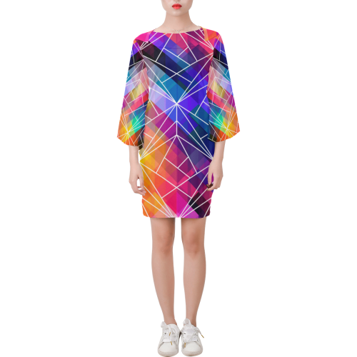 Bright Coloured Geometric Line Shift Designer Dress London, UK