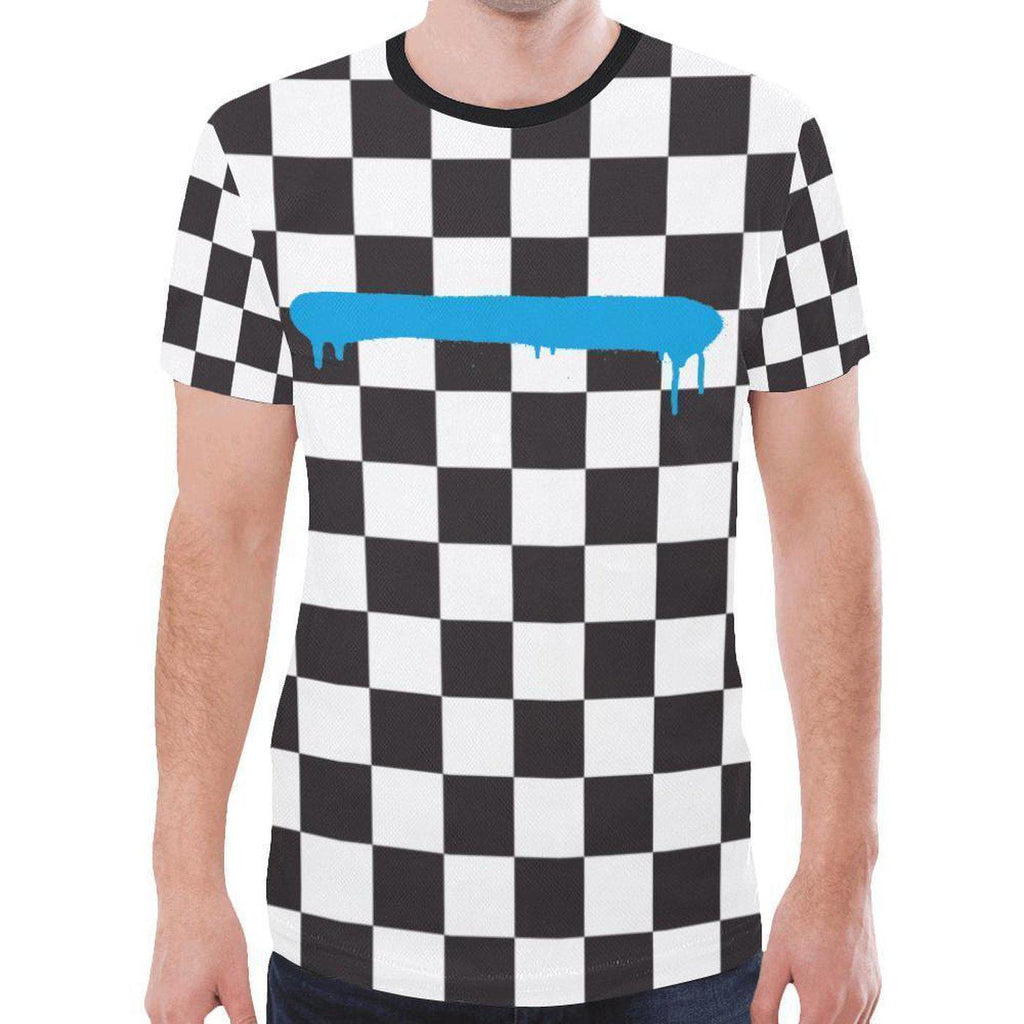 Check Spray Blue Line Mens All Over T-shirt-T-Shirts-XS-NO FIXED ABODE Luxury Streetwear UK