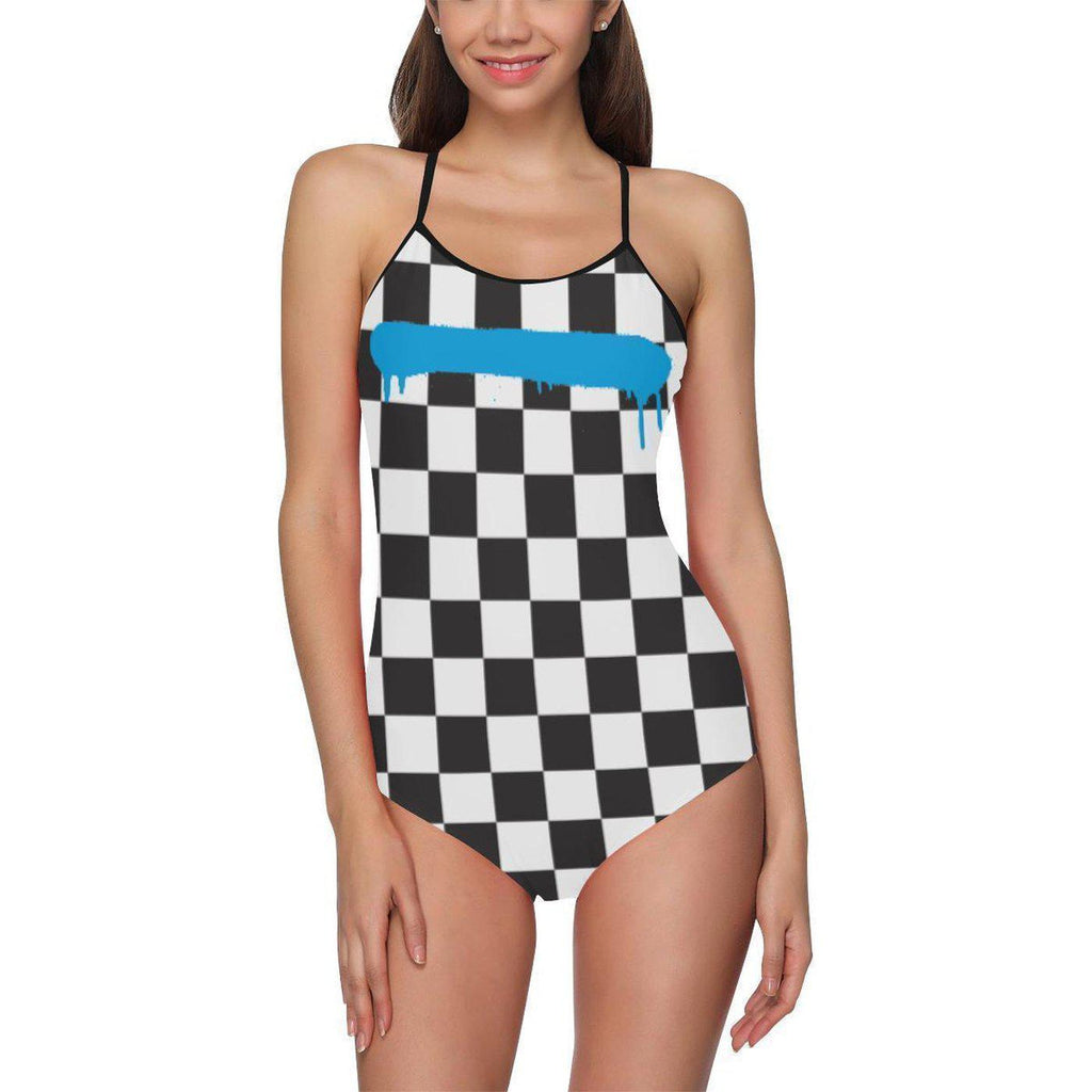 Check Spray Blue Line Swimsuit-Swimsuit-XS-NO FIXED ABODE Luxury Streetwear UK