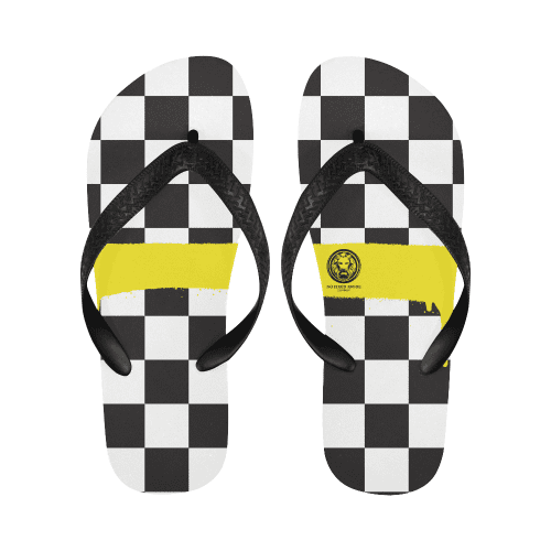 Check Spray Yellow Flip Flops-Footwear-S-NO FIXED ABODE Luxury Streetwear UK