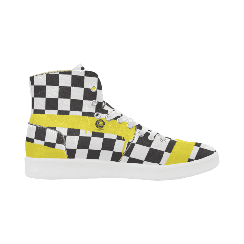 Check Spray Yellow Mens Patch Hi-Top Shoes,Footwear,NO FIXED ABODE,[uk],[luxury_streetwear],[free_shipping]
