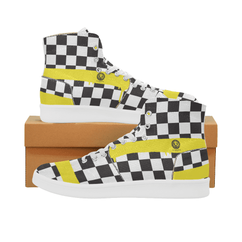 NO FIXED ABODE,Check Spray Yellow Mens Patch Hi-Top Shoes,Footwear,US7.5