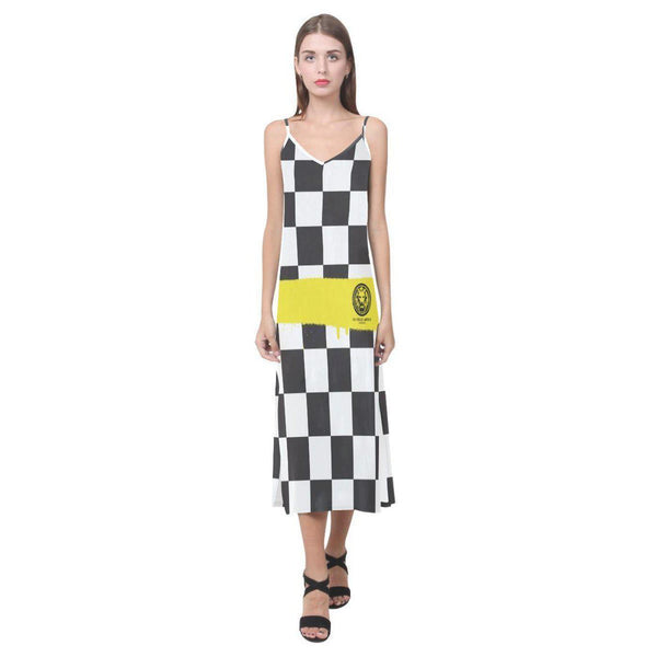 NO FIXED ABODE,Check Spray Yellow Strappy Long Dress,Dresses,XS