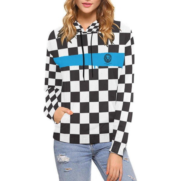 Checkered Blue Spray Paint Line Womens Hoodie-Hoodie-XS-NO FIXED ABODE Luxury Streetwear UK