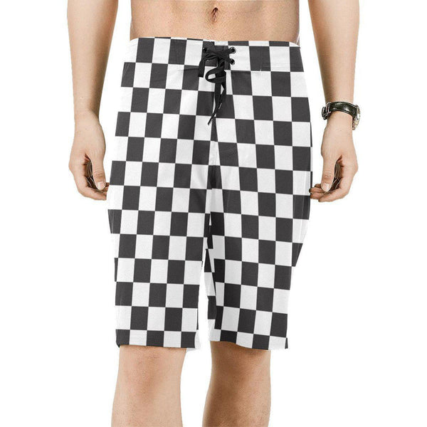 NO FIXED ABODE,Checkered Mens Board Shorts,Shorts,S