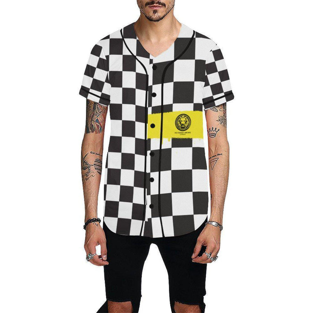 NO FIXED ABODE,Checkered Yellow Spray  Baseball Shirt,Shirts,XS