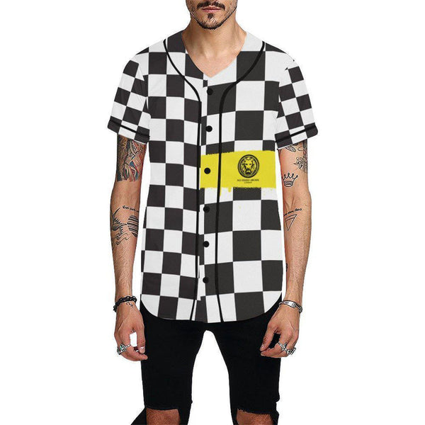 Checkered Yellow Spray Baseball Shirt-Shirts-XS-NO FIXED ABODE Luxury Streetwear UK