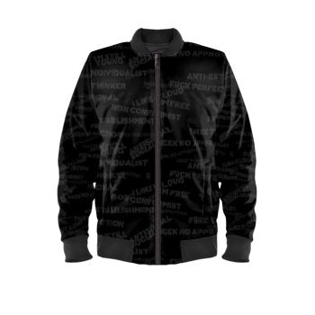 Front stencil mens luxury streetwear black bomber jacket no fixed abode